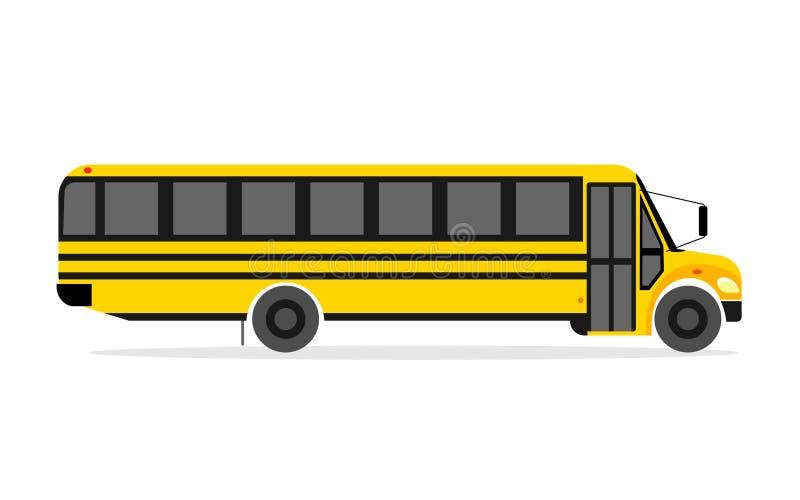 Estilo real e liso do ônibus amarelo da escola Ajuste a ilustração do vetor no fundo branco ilustração royalty free