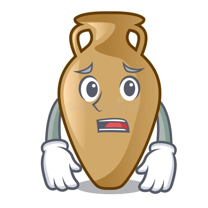 Estilo receoso dos desenhos animados da mascote da ânfora ilustração do vetor