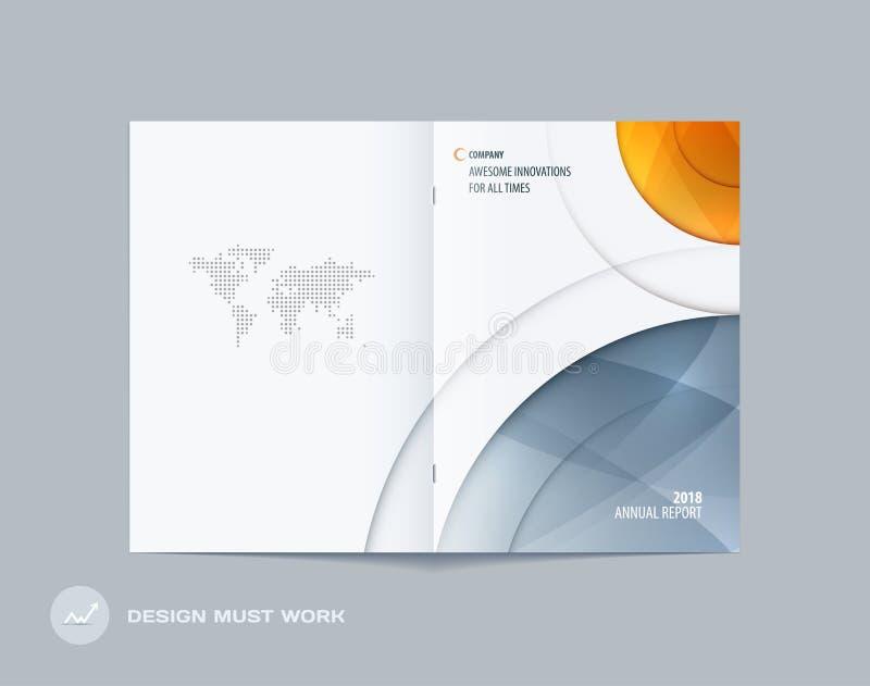 Estilo redondo do projeto abstrato do folheto da dobro-página com círculos coloridos para marcar Apresentação do vetor do negócio ilustração stock