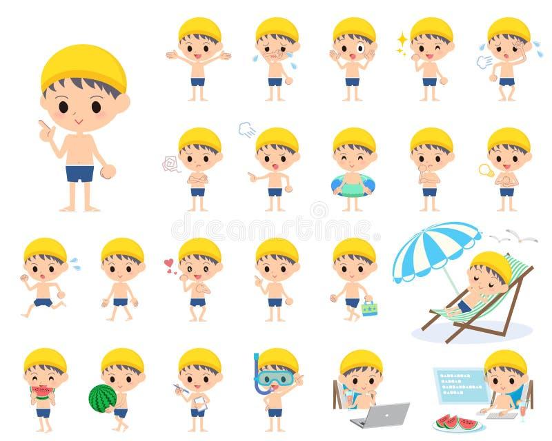Estilo regular do roupa de banho do menino ilustração do vetor