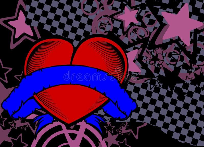 Estilo retro background9 da tatuagem vermelha do coração ilustração do vetor