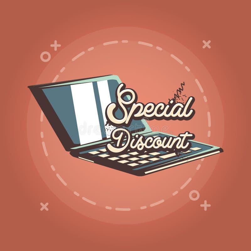 Estilo retro de las compras de la oferta del descuento especial del ordenador portátil ilustración del vector