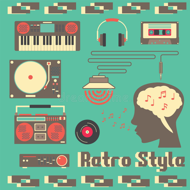 Estilo retro de los dispositivos de la música stock de ilustración