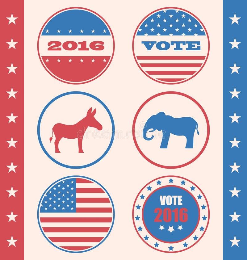 Estilo retro del botón para elección de la campaña del voto o de la votación ilustración del vector