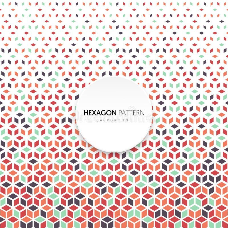 Estilo retro del hexágono de la forma del modelo del vintage geométrico de semitono abstracto del fondo ilustración del vector