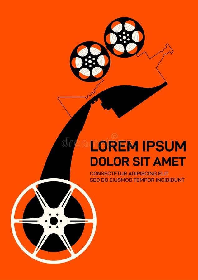 Estilo retro del vintage moderno del fondo de la plantilla del diseño del cartel de la película y de la película stock de ilustración
