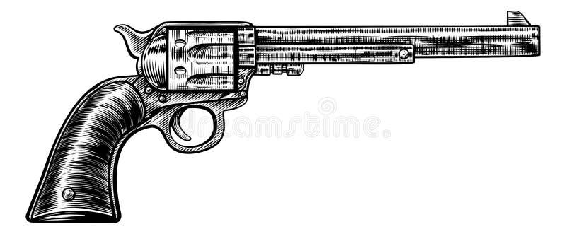 Estilo retro do bloco xilográfico do vintage da arma da pistola ilustração stock
