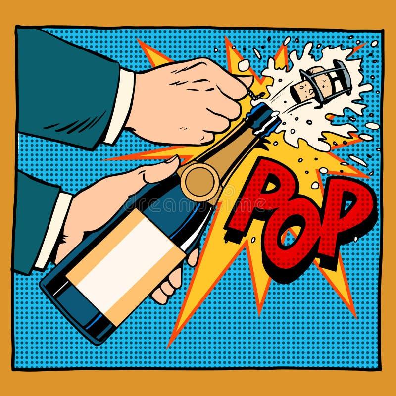 Estilo retro do pop art da garrafa do champanhe da abertura ilustração do vetor