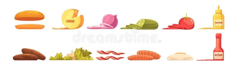 Estilo retro dos desenhos animados do grupo de elementos do hamburguer ilustração royalty free