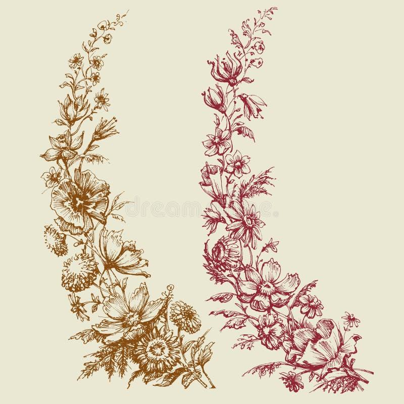 Estilo retro dos ramos florais ilustração do vetor