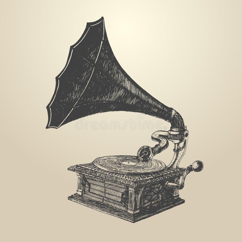 Estilo retro grabado vintage del ejemplo del fonógrafo stock de ilustración