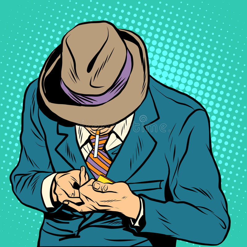 Estilo retro masculino del arte pop del fumador libre illustration