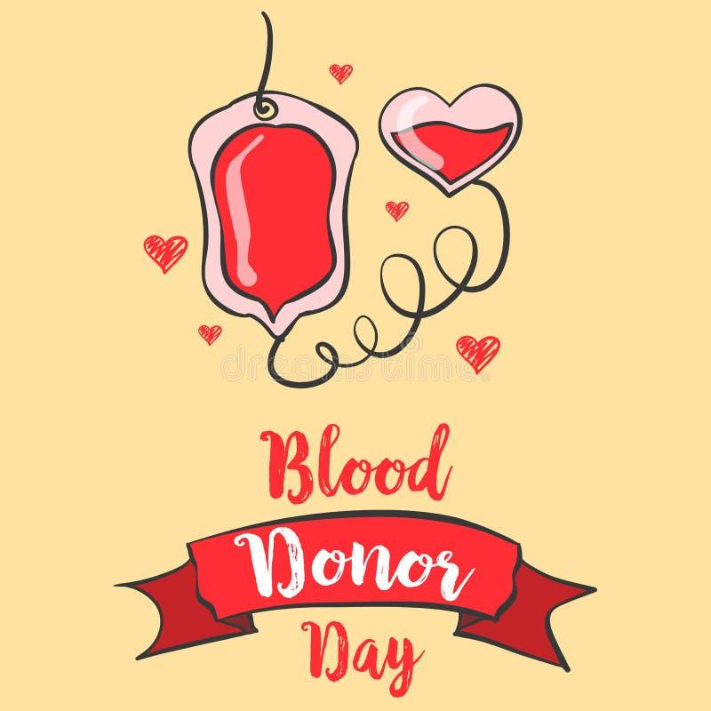 Estilo rojo del día del donante de sangre del backgroud stock de ilustración