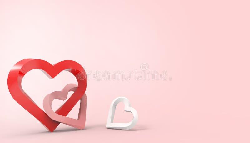 Estilo romántico del arte del papel de tarjeta de felicitación de día de San Valentín del corazón rojo del amor de feliz en  ilustración del vector