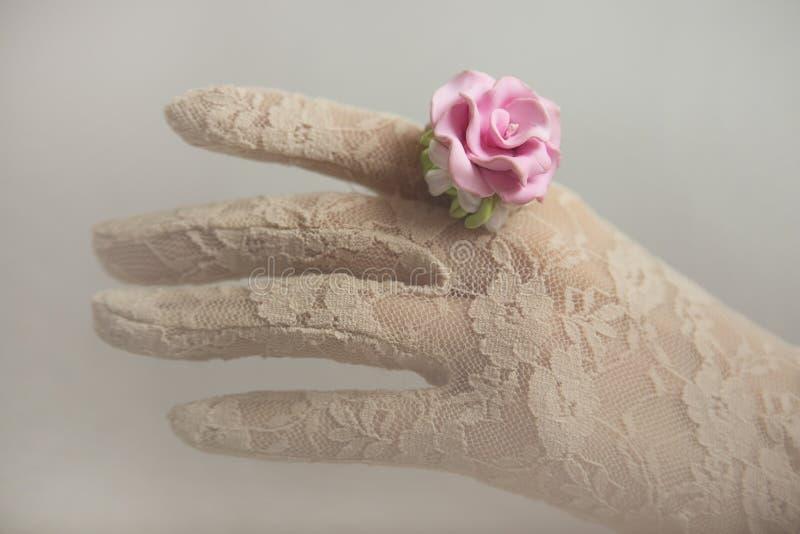 Estilo romântico do vintage: Forme o estúdio disparado da mão fêmea no la imagem de stock
