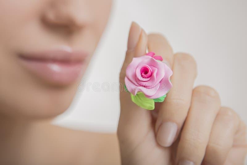 Estilo romântico: Forme o estúdio disparado da mulher bonita com um fl foto de stock