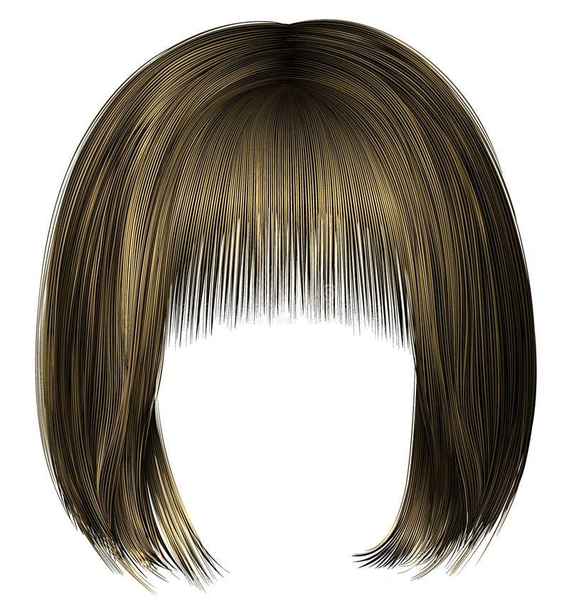 estilo rubio 3d de la belleza de la mujer de los pelos de la sacudida de la franja de moda del kare libre illustration