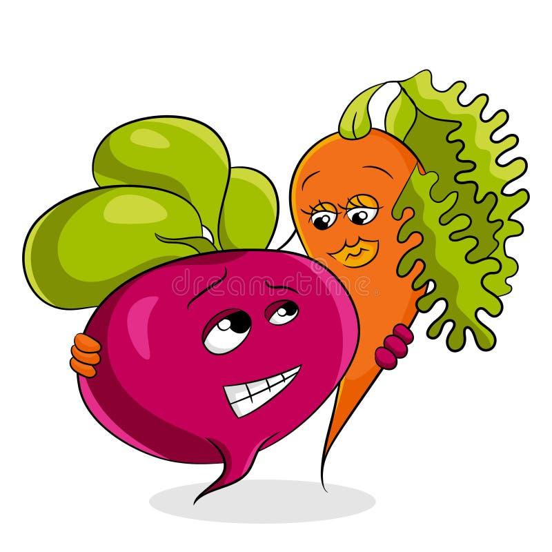 Estilo sano de la historieta del concepto de las remolachas y de las zanahorias de las verduras stock de ilustración