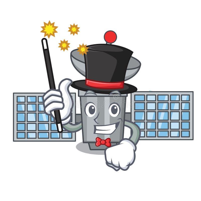 Estilo satélite dos desenhos animados da mascote do mágico ilustração royalty free