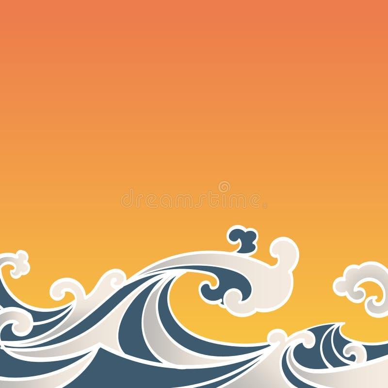 Estilo sem emenda do asiático da tração da mão das ondas de oceano do teste padrão ilustração stock