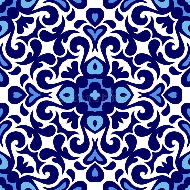 Estilo sem emenda do damasco do projeto do fundo da porcelana do vetor do azul do ornamento floral e o branco do azulejo do teste ilustração do vetor