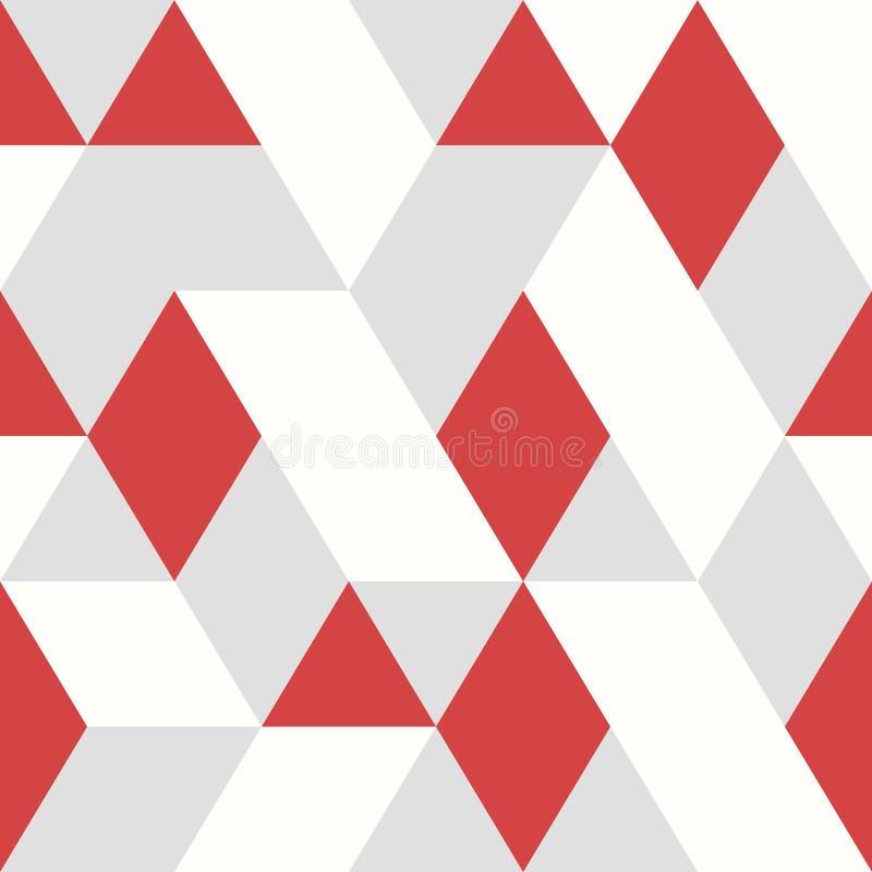 Estilo sem emenda do projeto vermelho abstrato do teste padrão do vetor dos triângulos no fundo cinzento branco Vetor eps10 da il ilustração royalty free