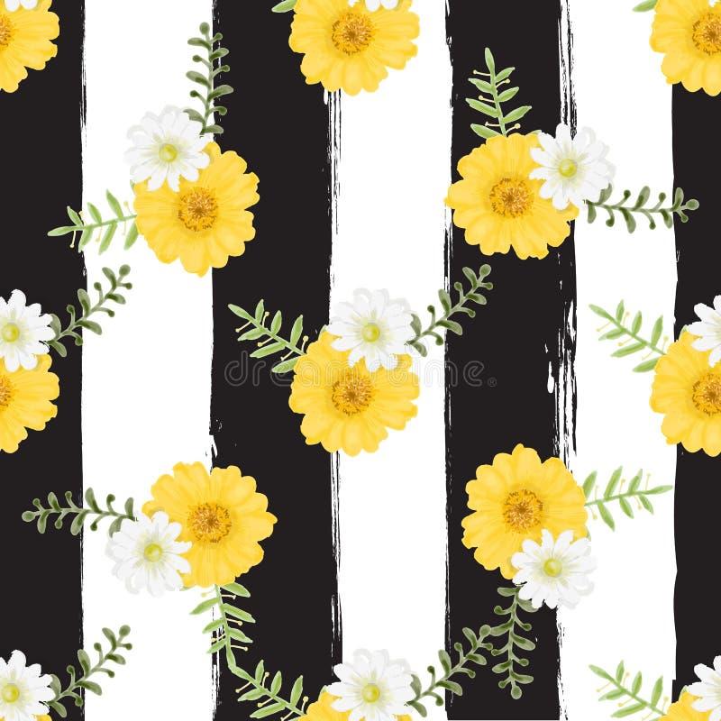 Estilo sem emenda tropical da pintura da aquarela do teste padrão das flores em b ilustração stock