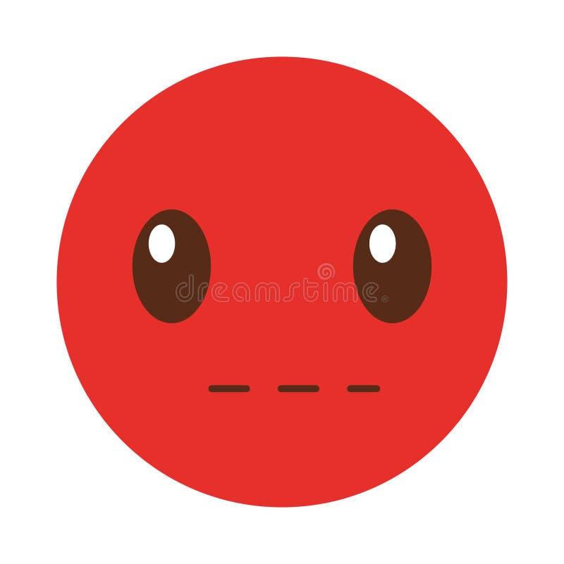 Estilo silencioso del kawaii de la cara del emoticon stock de ilustración