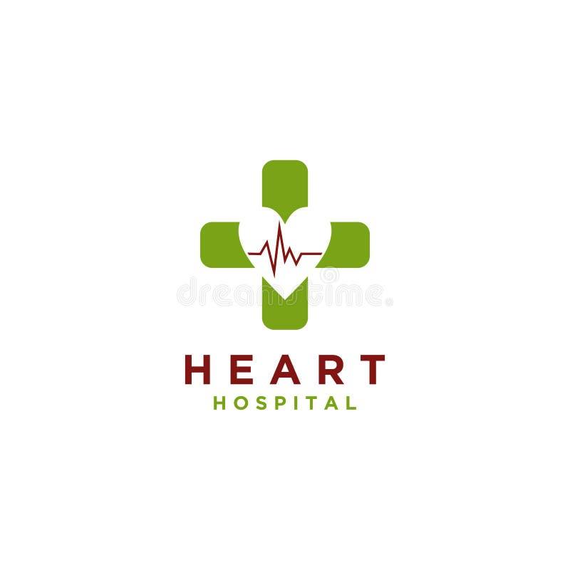 Estilo simple del vector del diseño del logotipo del hospital del corazón stock de ilustración