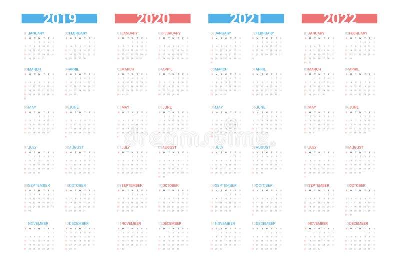 Estilo simple siguiente de 4 años del calendario en el fondo blanco La semana comienza domingo libre illustration