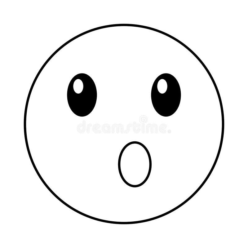 Estilo sorprendido del kawaii de la cara del emoticon stock de ilustración