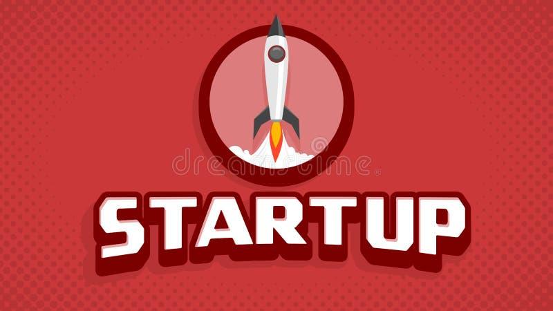 Estilo Startup do cartaz cinematográfico do vintage do lançamento do navio de espaço ilustração do vetor