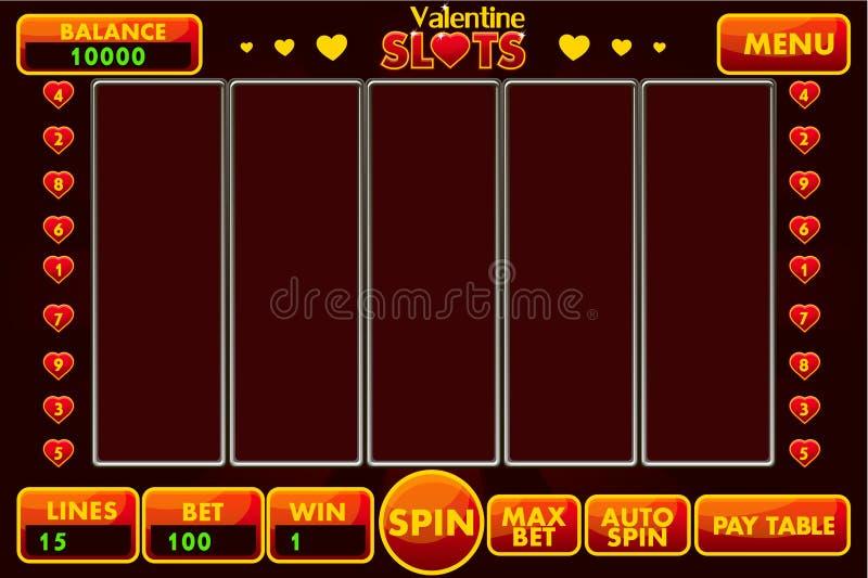 Estilo StValentine do slot machine da relação do vetor em vermelho colorido Menu completo da interface de usuário gráfica e conju ilustração royalty free