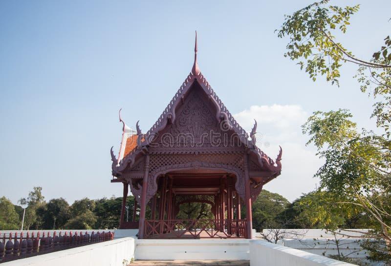Estilo tailandés casero Corral del elefante de Tailandia en historia en Ayutthaya imagen de archivo