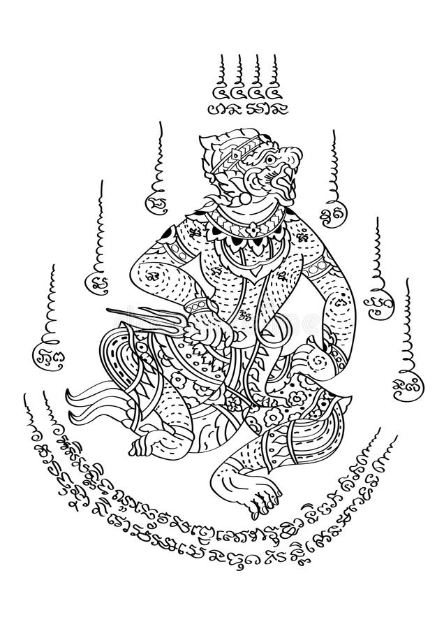 Estilo tailandés del tatuaje stock de ilustración