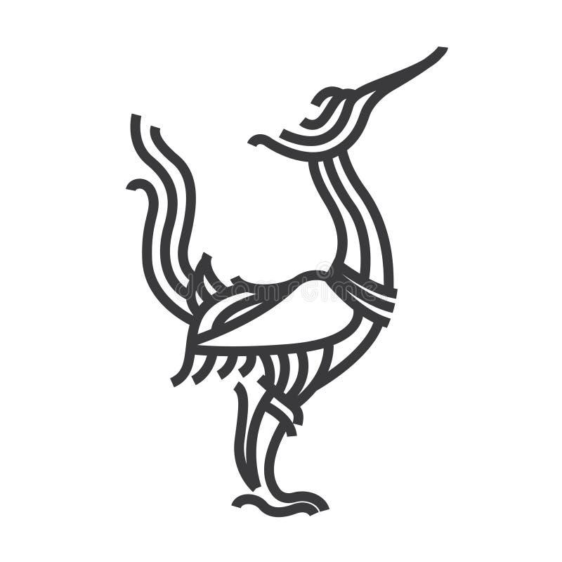 Estilo tailandés oriental del arte del cisne La línea vector ilustra libre illustration