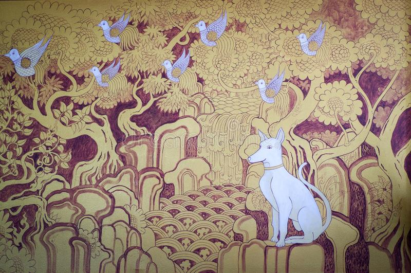 Estilo tailandês do lanna da pintura imagens de stock