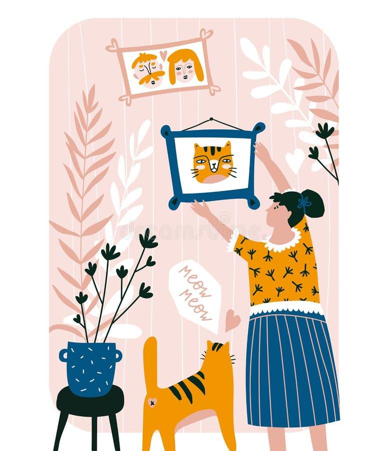 Estilo tirado bonito do cartão da família à disposição Gato e jovem mulher bonitos ilustração royalty free