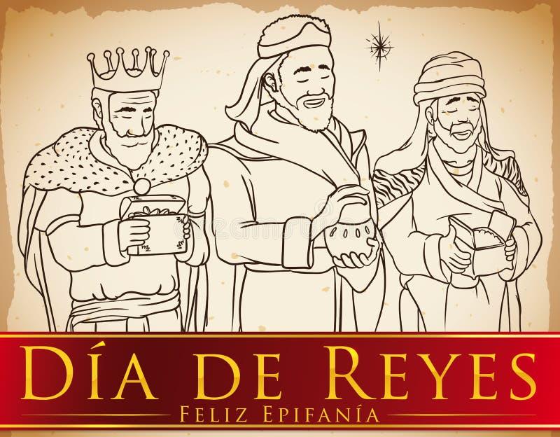 Estilo tirado de três três Reis Magos à disposição que comemora o ` de Dia de Reyes do `, ilustração do vetor ilustração do vetor
