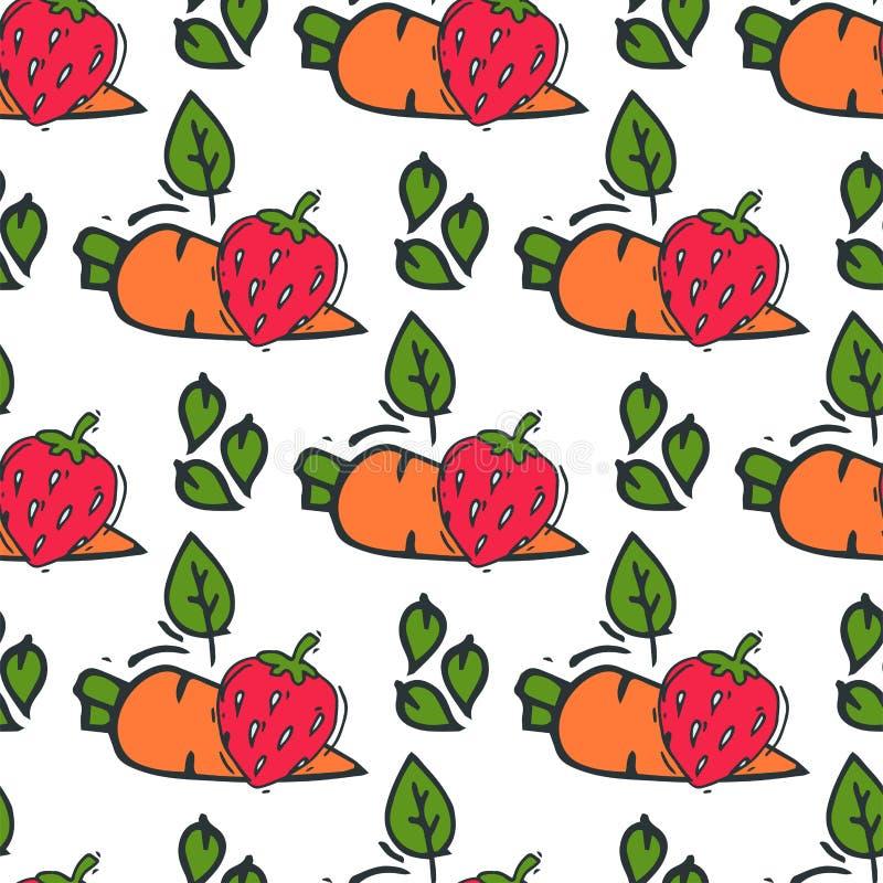 Estilo tirado do fundo do teste padrão da cenoura mão sem emenda da ilustração vegetal do vetor do vegetariano do bio alimento sa ilustração royalty free
