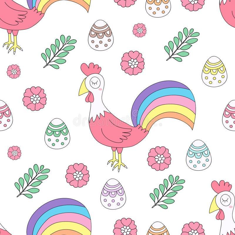 Estilo tirado dos desenhos animados da galinha do teste padrão mão bonito sem emenda ilustração do vetor