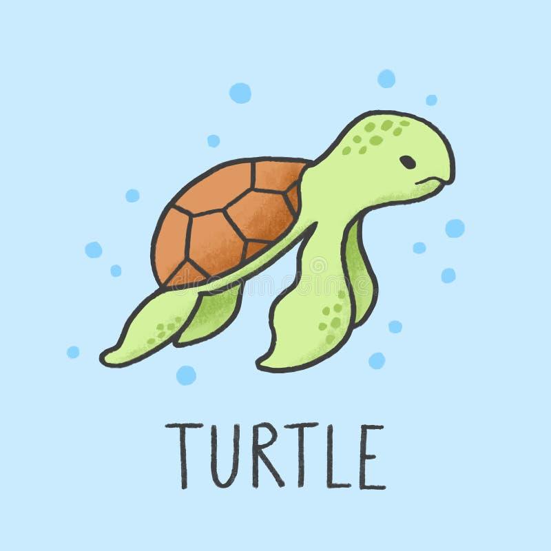 Estilo tirado dos desenhos animados da tartaruga mão bonito ilustração royalty free
