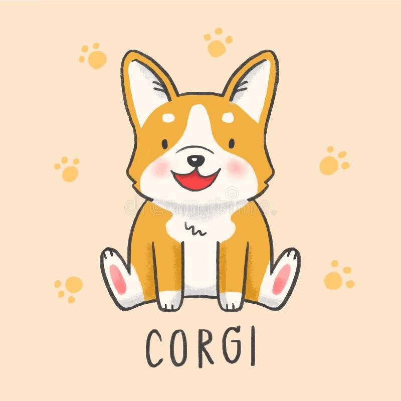 Estilo tirado dos desenhos animados do cão do Corgi mão bonito ilustração stock
