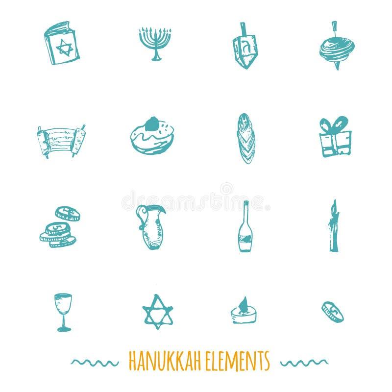 Estilo tirado grande do grupo dos ícones do Hanukkah à disposição que inclui o menorah ilustração do vetor