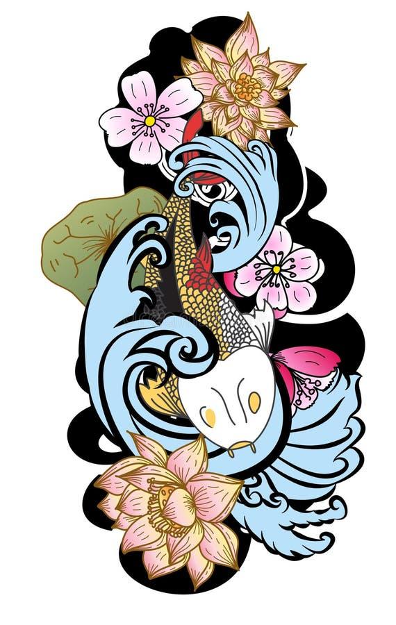 estilo tirado mão da tatuagem de Koi Carp Japanese do ‰ do ¹ do à ilustração royalty free