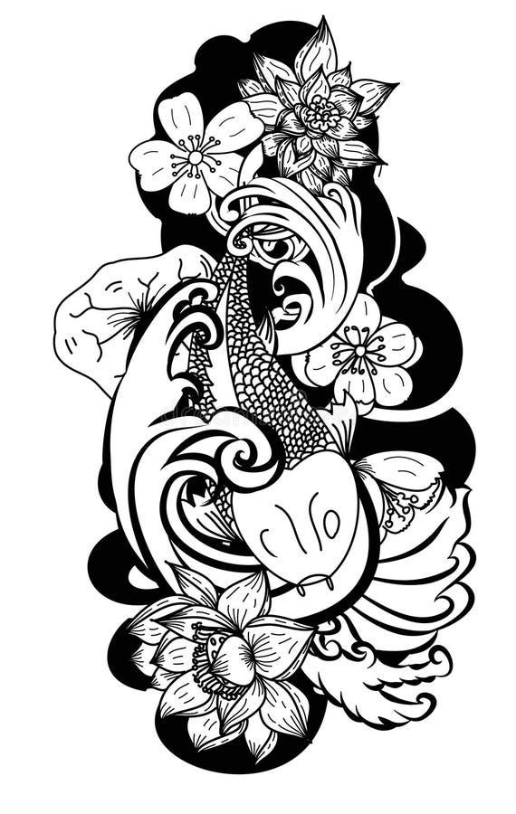 estilo tirado mão da tatuagem de Koi Carp Japanese do ‰ do ¹ do à ilustração stock