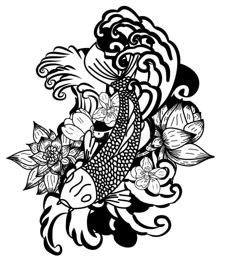 estilo tirado mão da tatuagem de Koi Carp Japanese do ‰ do ¹ do à ilustração do vetor