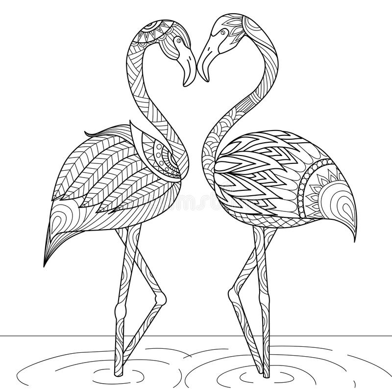 Estilo tirado mão do zentangle dos pares do flamingo ilustração do vetor