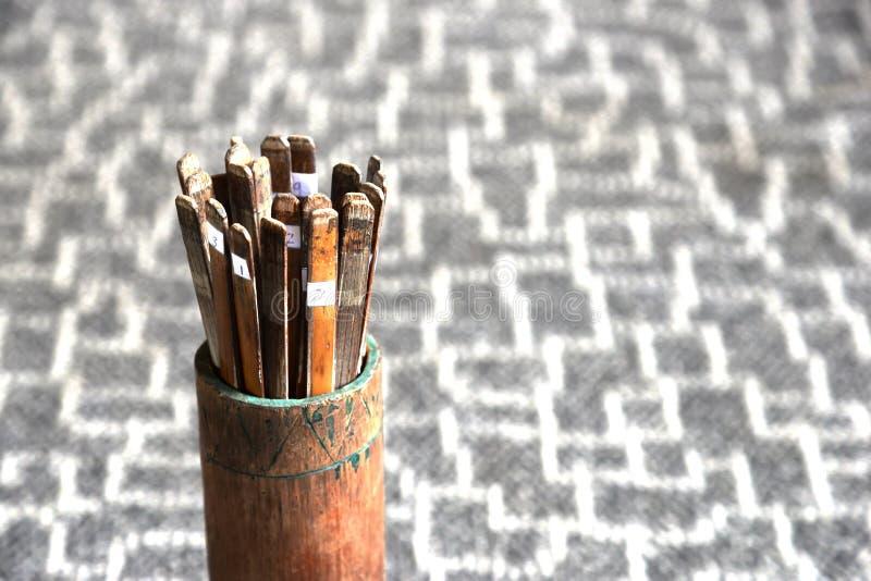 Estilo tradicional chino del adivino Predicción de bambú de la vida fotografía de archivo libre de regalías