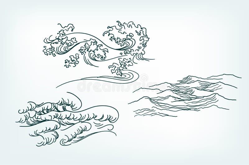 Estilo tradicional das ondas japonesas dos elementos do projeto do mar ilustração stock
